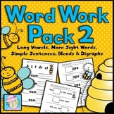 Word Work Packet 2 Kindergarten 1st | Long Vowel Worksheets | Word Families