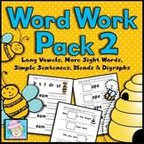 Reading Intervention Kindergarten 1st | Word Work Packet 2 Long Vowels