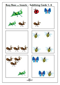 Busy Bees and insects Subitising cards 1-6