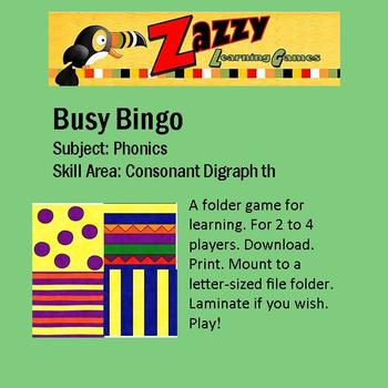 Busy Bingo Folder Game for Consonant Digraph th