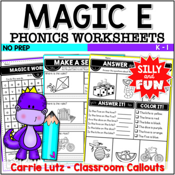 "Busy Bodies ~ Phonics Fun with Magic ""e"" {Printable - No Prep}"