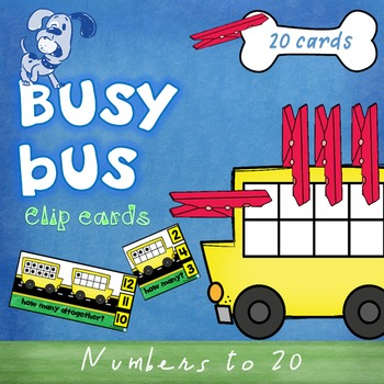 Busy Bus Clip  - numbers to 20 - clip cards