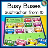 Busy Buses Subtraction from 10 Game and Worksheets