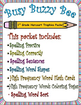 Busy Buzzy Bees:  First Grade Spelling and Sight Word Packets