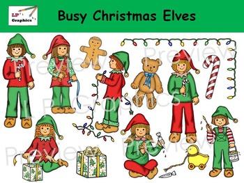 Busy Christmas Elves Clip Art