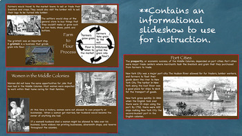 Busy Farms and Seaports of the Middle Colonies Interactive Notebook