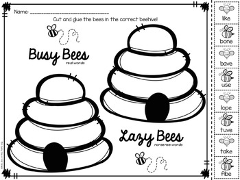 Busy & Lazy Bees {CVCe real & nonsense words}