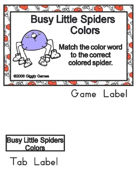 Busy Little Spiders Basic Skill File Folder Games