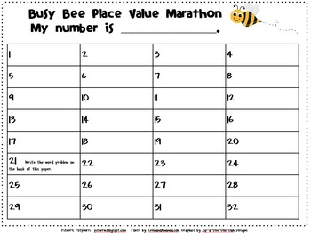 Busy Place Value Bees (Get Up and Moving Activities)