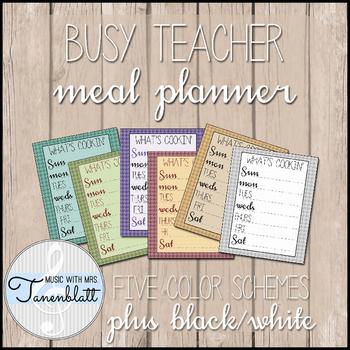 Busy Teacher Meal Planner FREEBIE