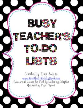Busy TpT Teacher's To-Do Lists