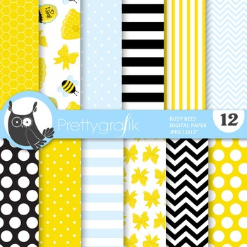 Busy bee digital paper, commercial use, scrapbook papers - PS686