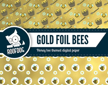 Busy bee gold foil digital papers honey bees and bumble bees