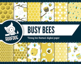 Busy bee themed digital papers honey bees and bumble bees
