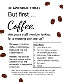 But first Coffee Poster, Promote your coffee cart