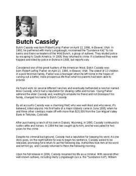 Butch Cassidy Article and Assignment