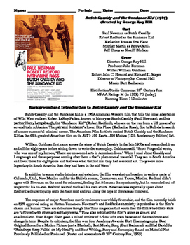 Butch Cassidy and the Sundance Kid Film (1969) Study Guide Movie Packet