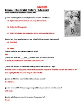 Butcher of the Congo video worksheet