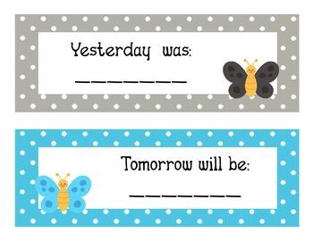 Buttefly Theme Polka Dot Calendar Headers