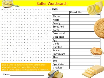 Butter Foods Wordsearch Puzzle Sheet Keywords Milk Food Science Nutrition