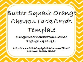 Butter Squash Orange Chevron Task Card/Scoot Card Templates