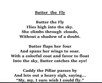 photograph regarding High Flight Poem Printable named Butter The Fly Poem-Initial and Are living Inside of Letters Tier 3