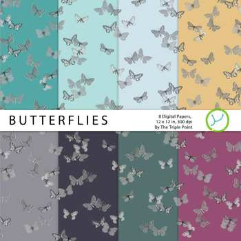 Butterflies Background: 8 Digital Papers