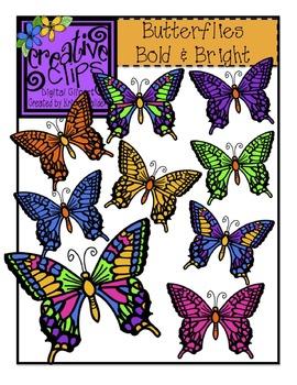 Butterflies Bold & Bright {Creative Clips Digital Clipart}
