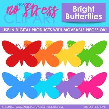 Butterflies Clip Art Bright Set (Digital Use Ok!)