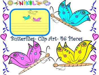Summer Activities - Butterflies - Labels - Clip Art