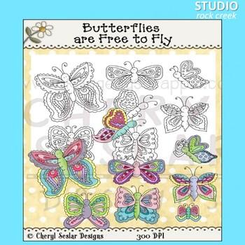 Butterflies Clip Art color and line art C Seslar