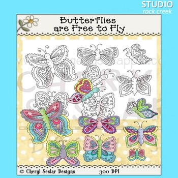 Butterflies Clip Art color and line art C Seslar