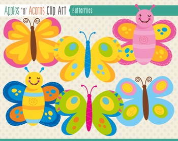 Butterflies Clip Art - color and outlines