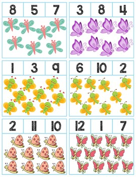 Butterflies Clip Cards | Numbers 1-12