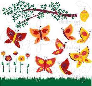 Garden Bug Butterflies Clipart by Poppydreamz