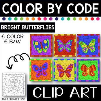 Butterflies Color by Code Clip Art Bright Colors