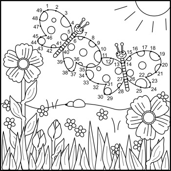 Butterflies Connect the Dots Puzzle and Coloring Page, Commercial Use Allowed
