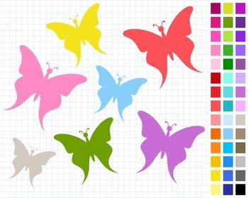Butterflies Digital Clip Art, Cute Clipart, 43 Butterflies