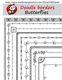 Butterflies Doodle Borders  Digital Clipart Instant Downlo