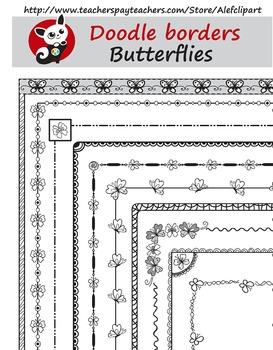 Butterflies Doodle Borders  Digital Clipart Instant Downlo