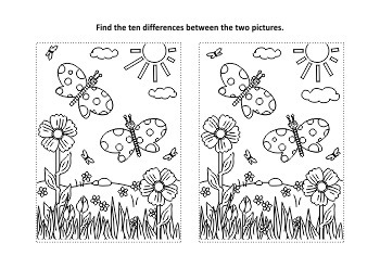 Butterflies Find the Differences and Coloring Page, Commercial Use Allowed
