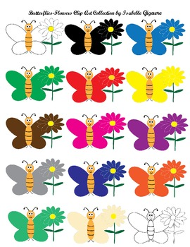 Butterflies-Flowers Clip Art Collection (Spring, Summer, Bugs, Colors Themes)