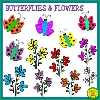 Butterflies & Flowers Clipart