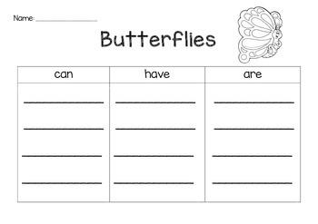 Butterflies Graphic Organizer