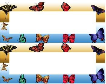 Butterflies Desk Name Tag Plates Set