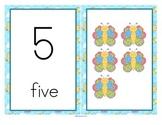 Butterflies Large Number Cards - Sets, 10-frames, Cut & Paste