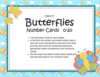 Butterflies Large Number Cards - Sets, 10-frames, Cut & Paste