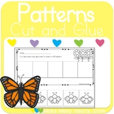 Butterflies Patterns Cut and Glue Worksheets