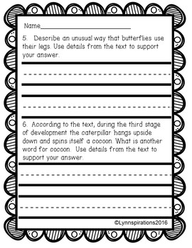 Butterflies Reading Comprehension