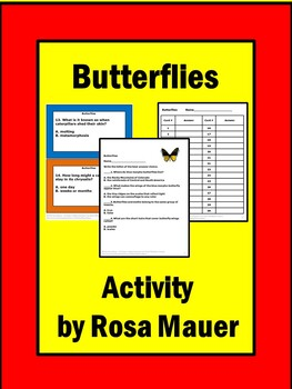 Butterflies Task Cards and Worksheet